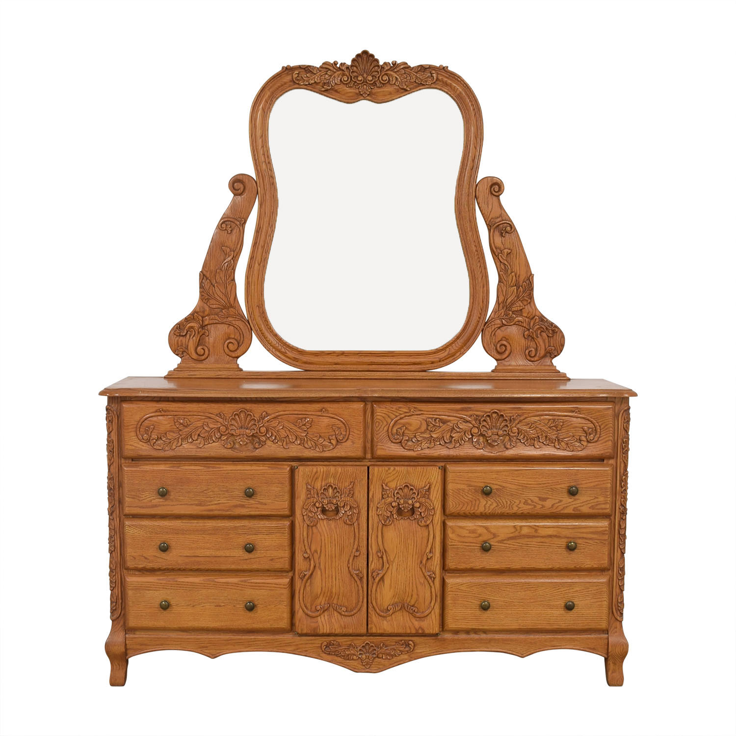Eight Drawer Dresser with Mirror Storage