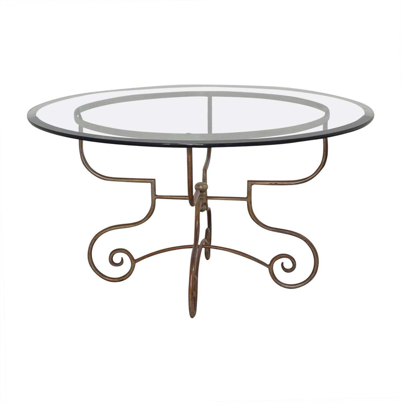 buy Bloomingdale's Glass and Metal Dining Table Bloomingdale's