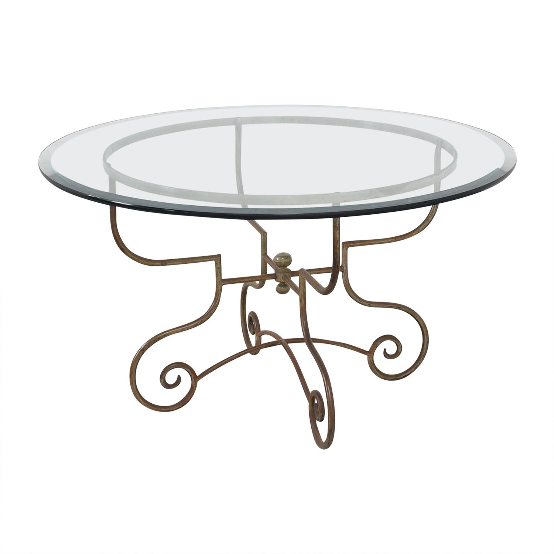 buy Bloomingdale's Glass and Metal Dining Table Bloomingdale's Dinner Tables