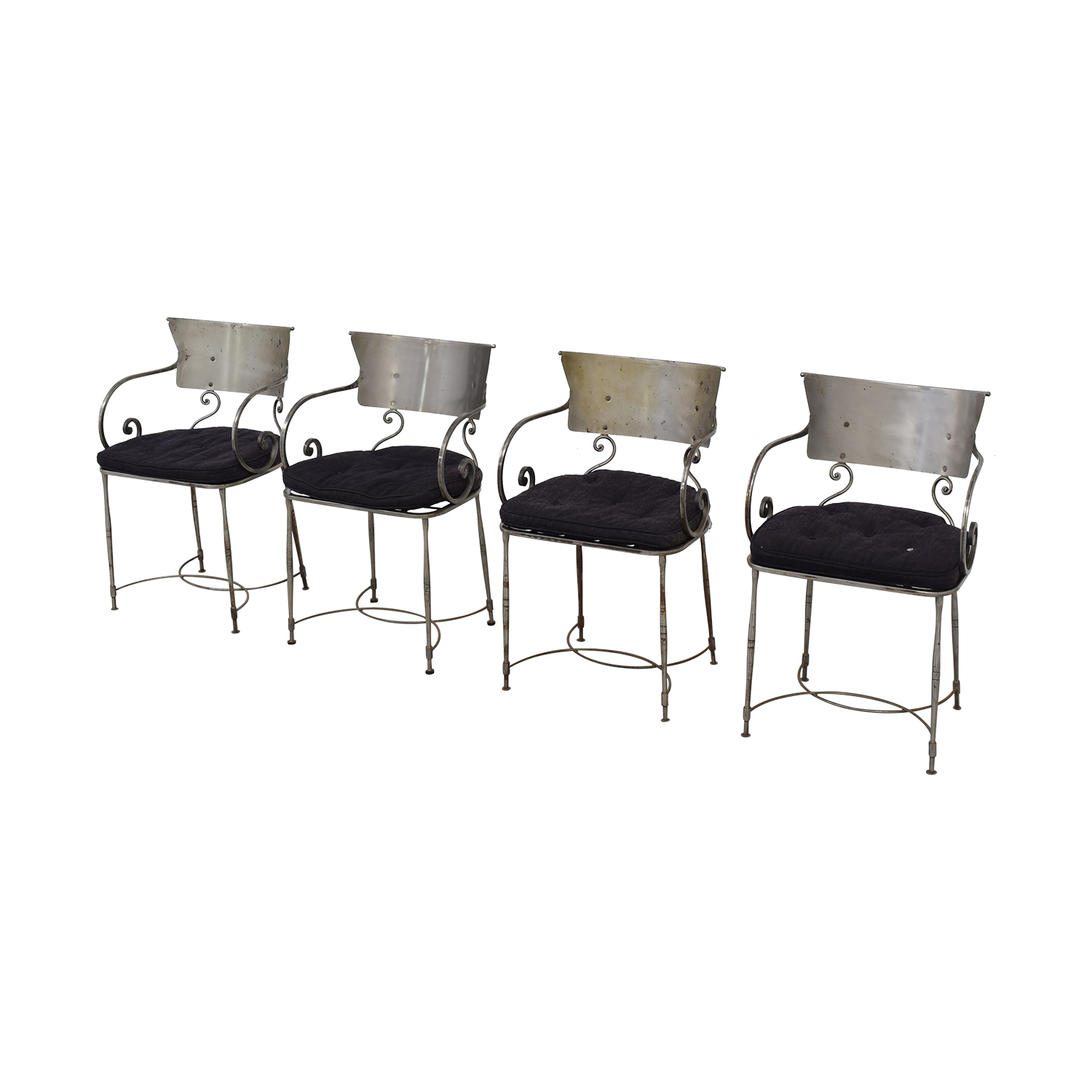 shop Bloomingdale's Four Metal Dining Chairs Bloomingdale's Dining Chairs