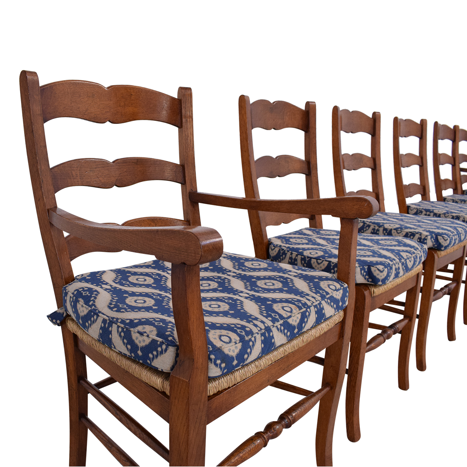 Ladder Back Cushioned Dining Chairs brown & blue