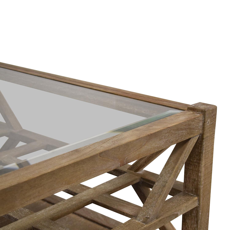 Arhaus Arhaus Glass Top Coffee Table light brown