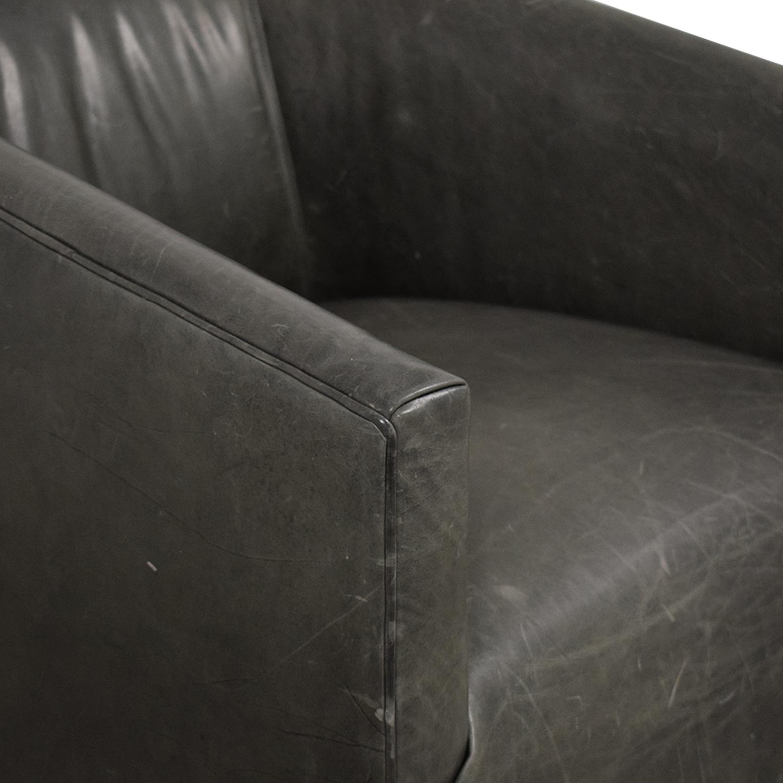 buy Restoration Hardware 1950s Italian Shelter Arm Leather Swivel Chair Restoration Hardware