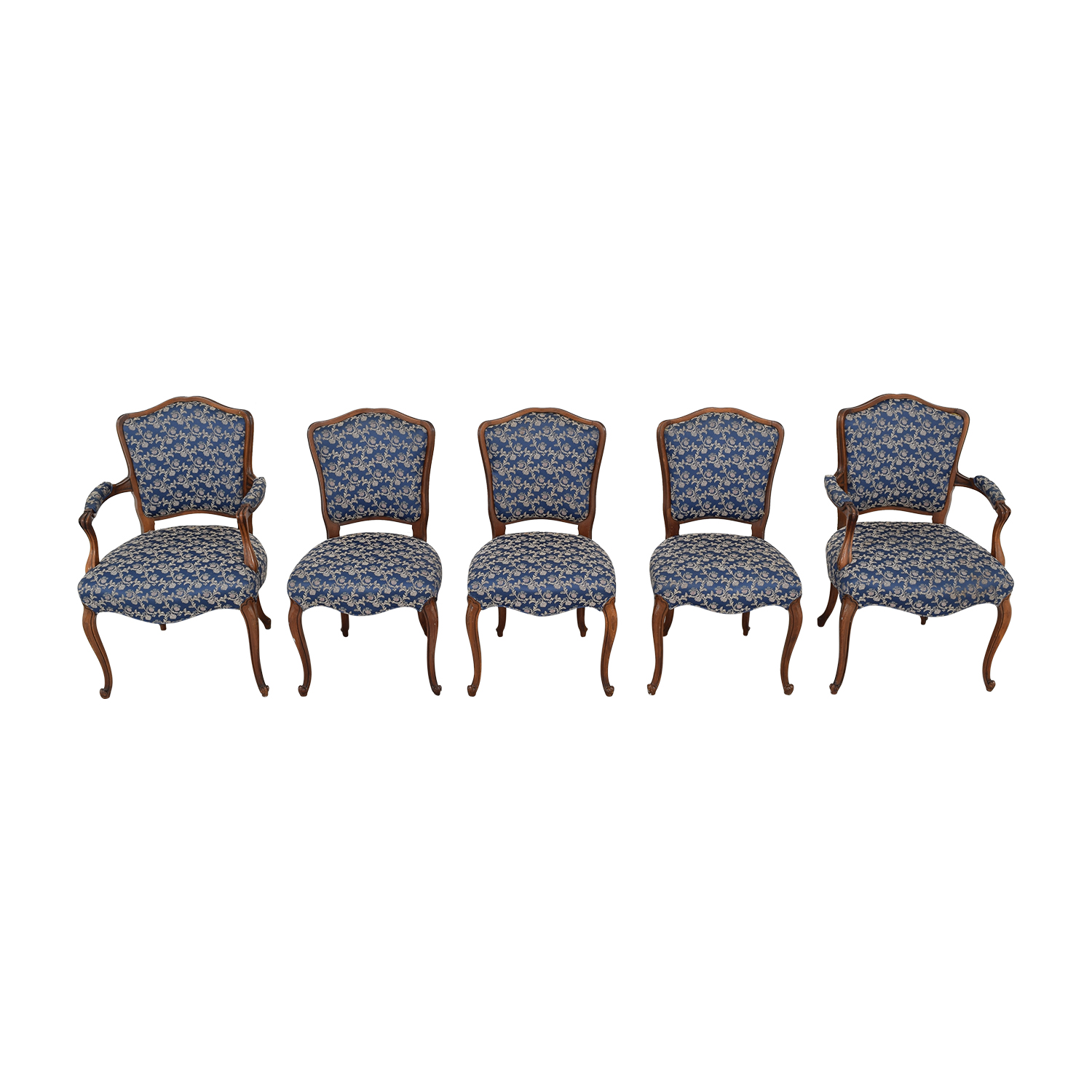 French Provincial Dining Chairs brown & blue