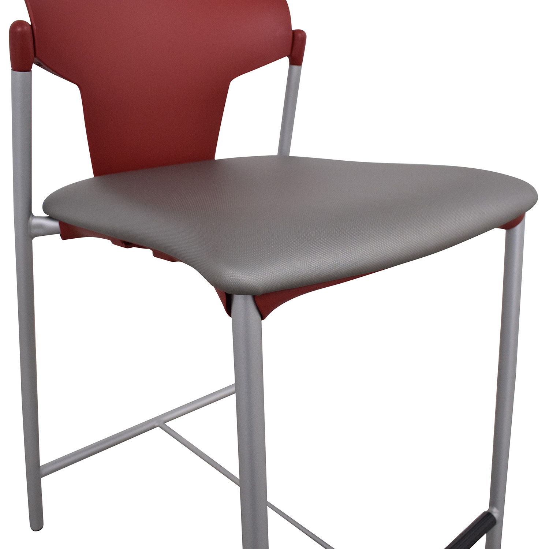 Officeworks Officeworks Bar Stool red & grey