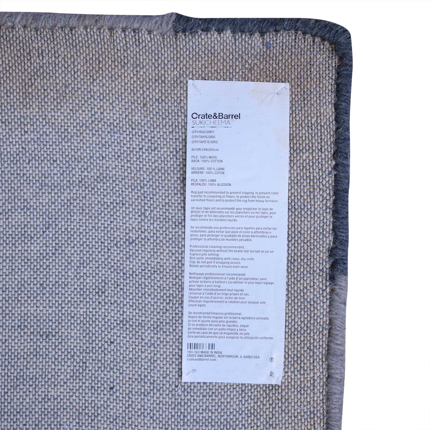 Crate & Barrel Crate & Barrel Sukicheema City Grey Rug Decor