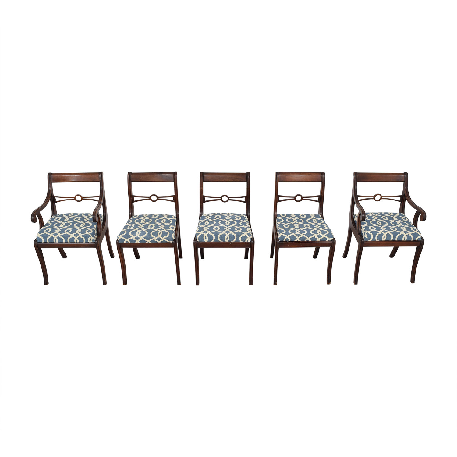 Upholstered Dining Room Chairs brown & blue