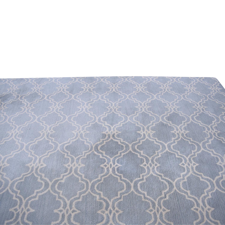 Porcelain Blue Scroll Tile Rug