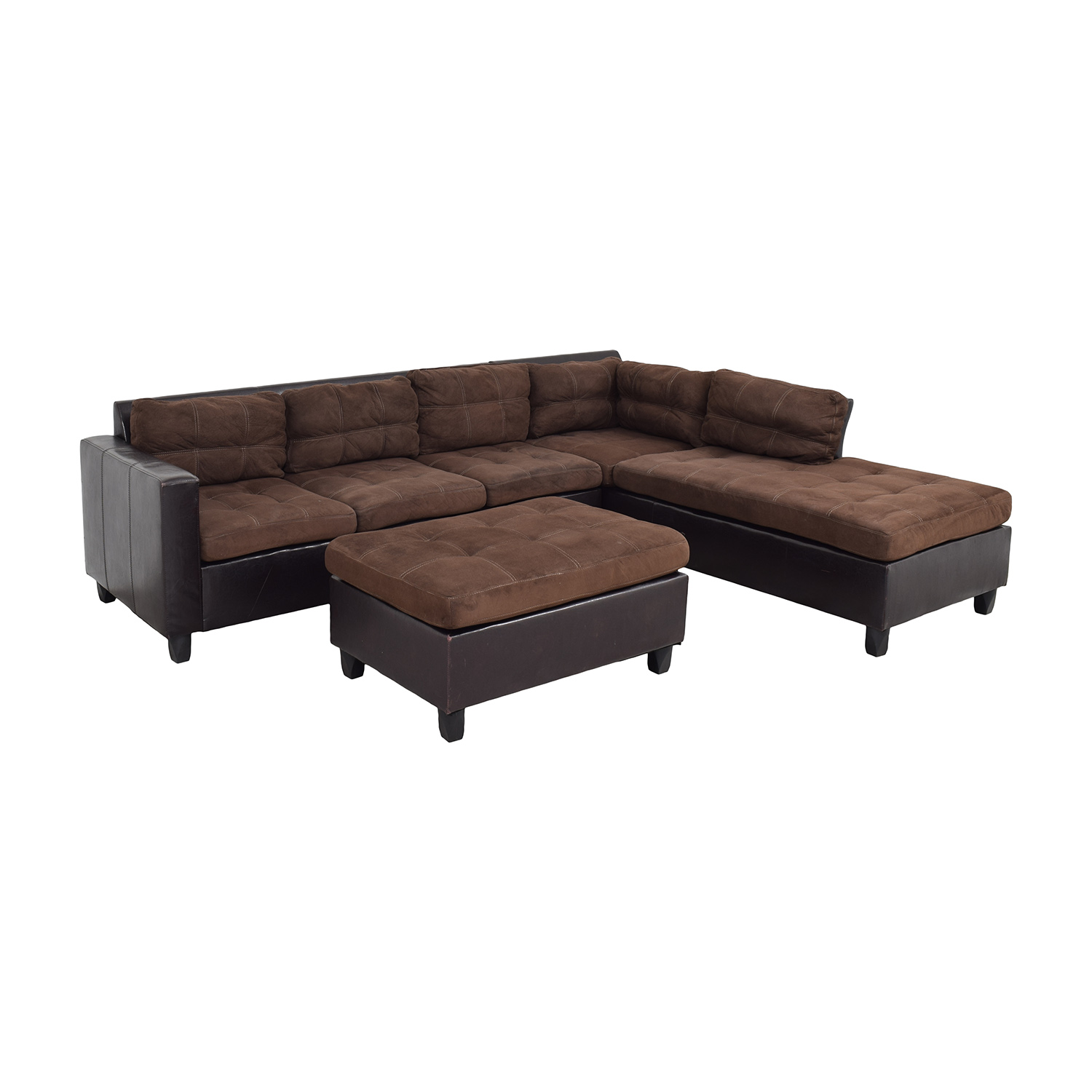 34% OFF - Chaise Sectional Sofa and Ottoman / Sofas