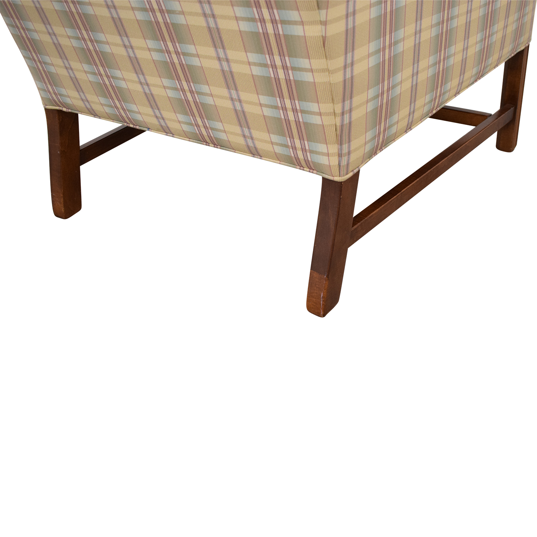 Ethan Allen Ethan Allen Plaid Wingback Chair and Ottoman nj
