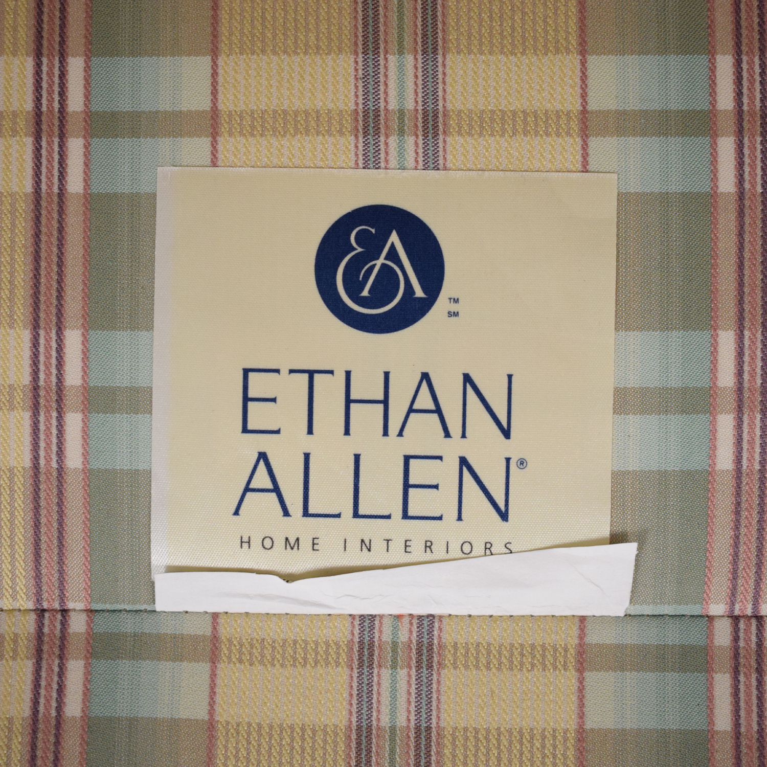 Ethan Allen Ethan Allen Plaid Wingback Chair and Ottoman Chairs