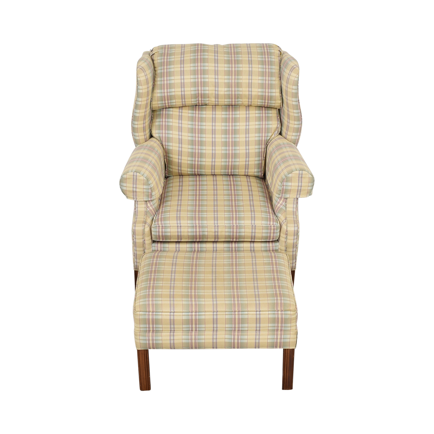 buy Ethan Allen Plaid Wingback Chair and Ottoman Ethan Allen