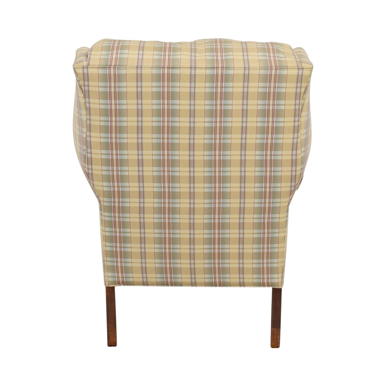 Ethan Allen Ethan Allen Plaid Wingback Chair and Ottoman discount