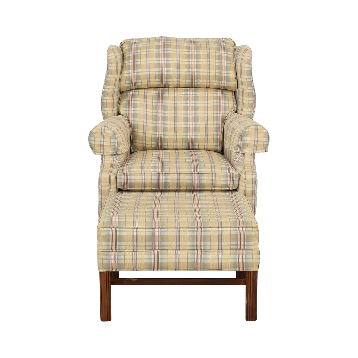 shop Ethan Allen Plaid Wingback Chair and Ottoman Ethan Allen