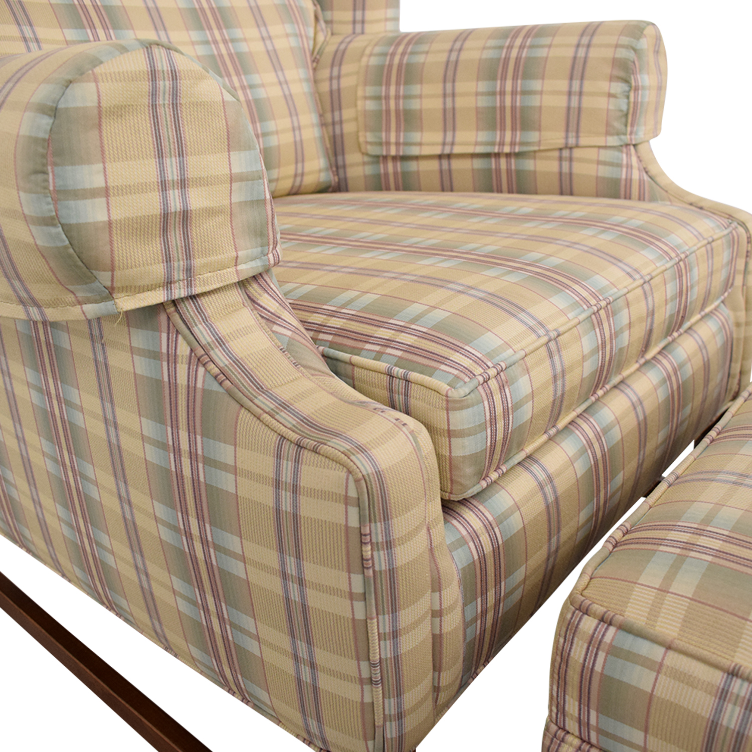 Ethan Allen Plaid Wingback Chair and Ottoman / Accent Chairs