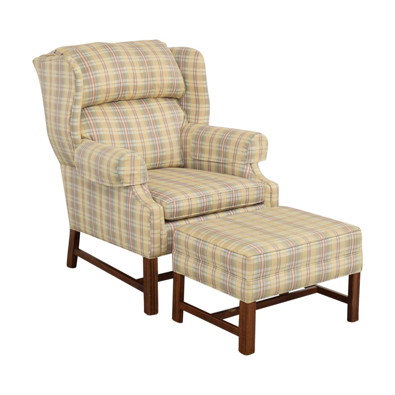 shop Ethan Allen Plaid Wingback Chair and Ottoman Ethan Allen
