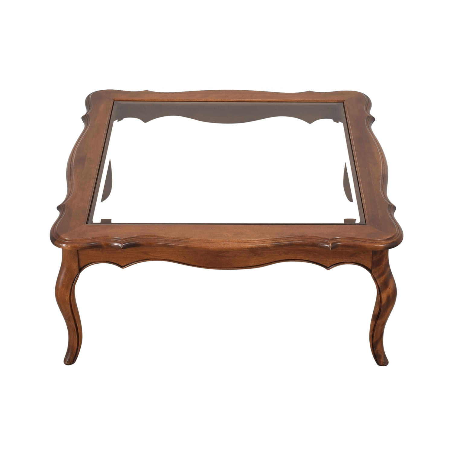 Ethan Allen Ethan Allen Country French Glass Top Coffee Table discount