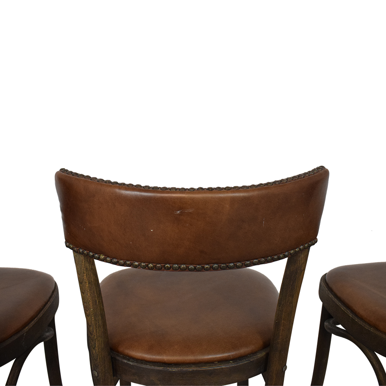 shop Restoration Hardware Vienna Cafe Leather Side Chairs Restoration Hardware