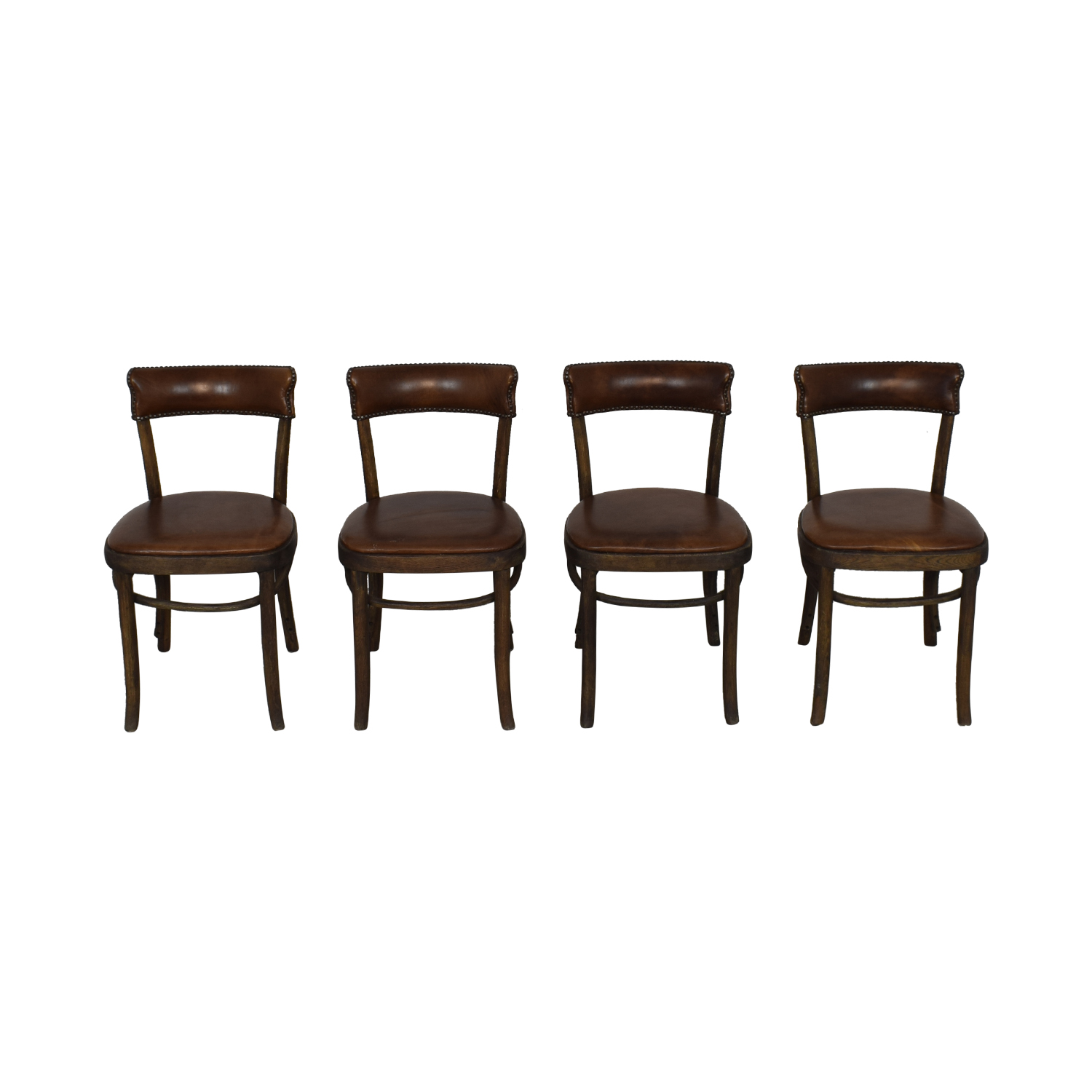 Restoration Hardware Restoration Hardware Vienna Cafe Leather Side Chairs on sale