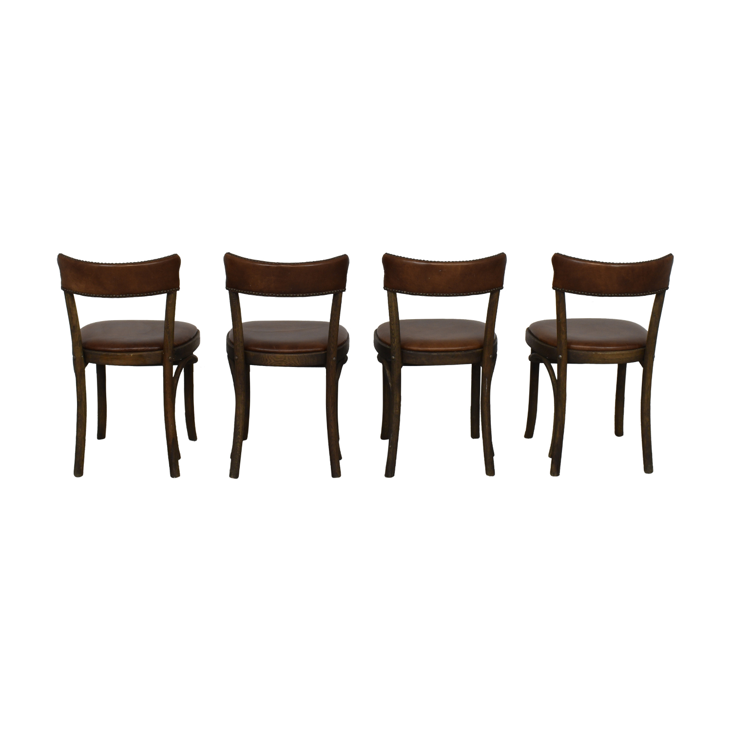 Restoration Hardware Vienna Cafe Leather Side Chairs sale