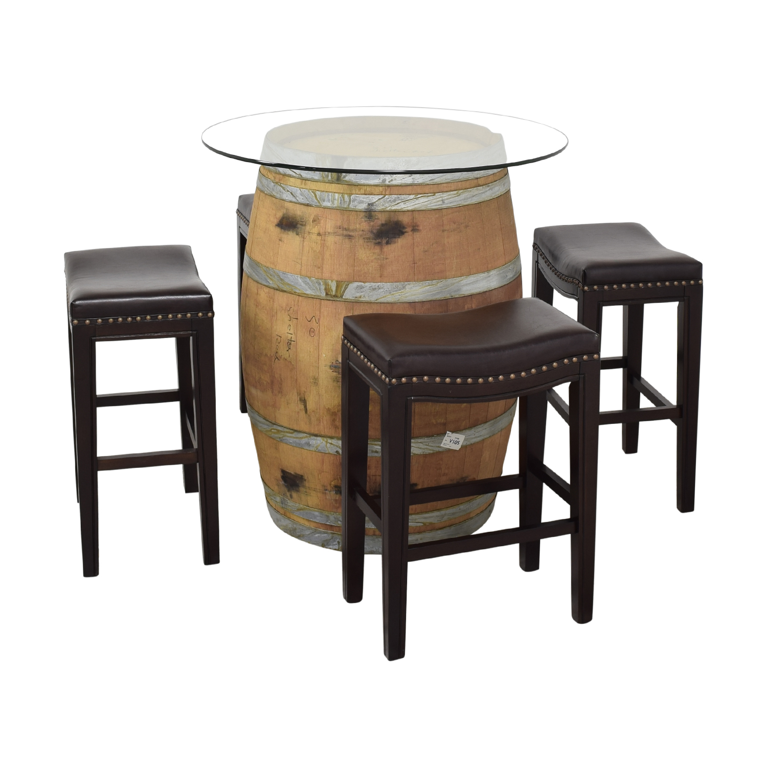 buy  Glass Top Wine Barrel Entertainment Table with Stools online
