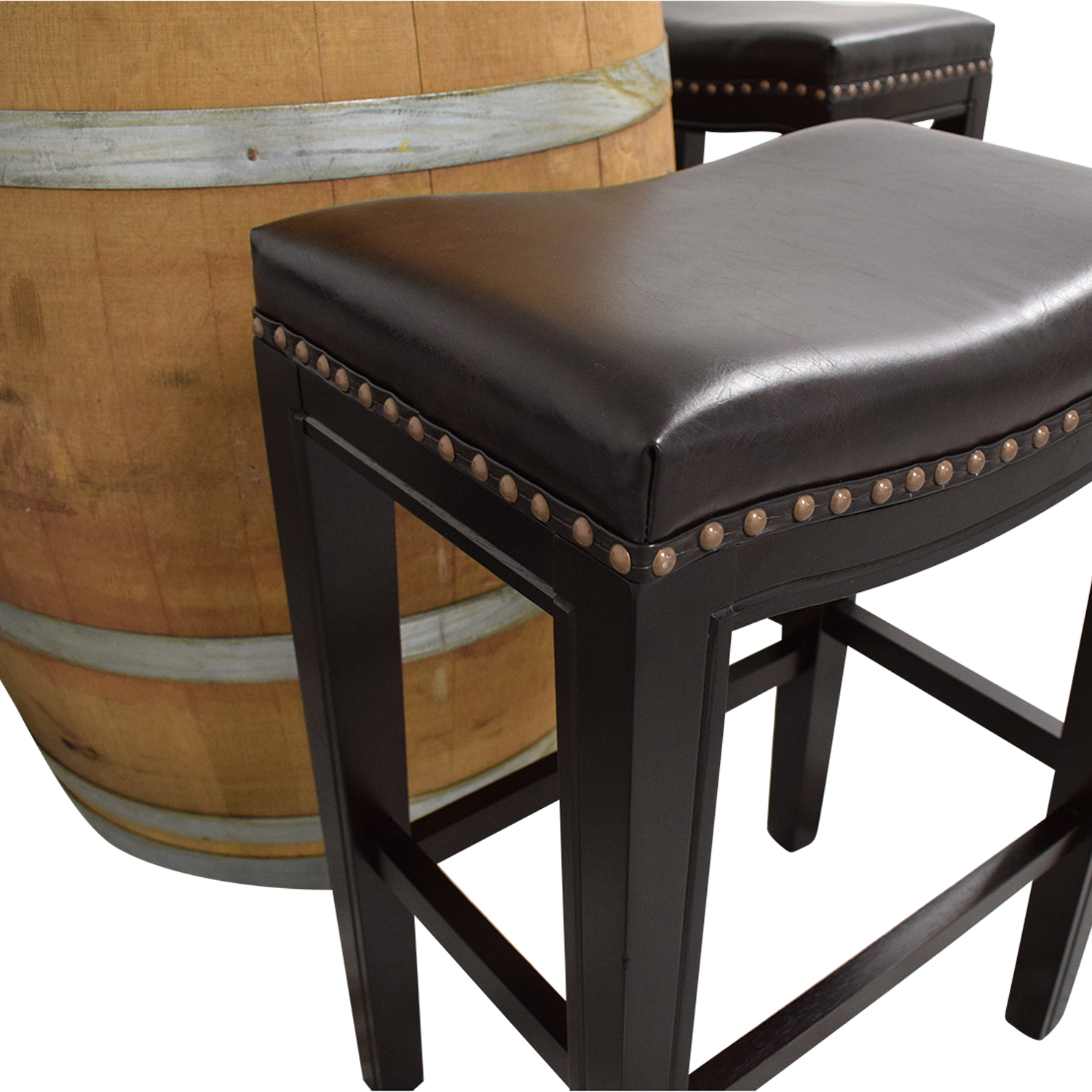 Glass Top Wine Barrel Entertainment Table with Stools sale
