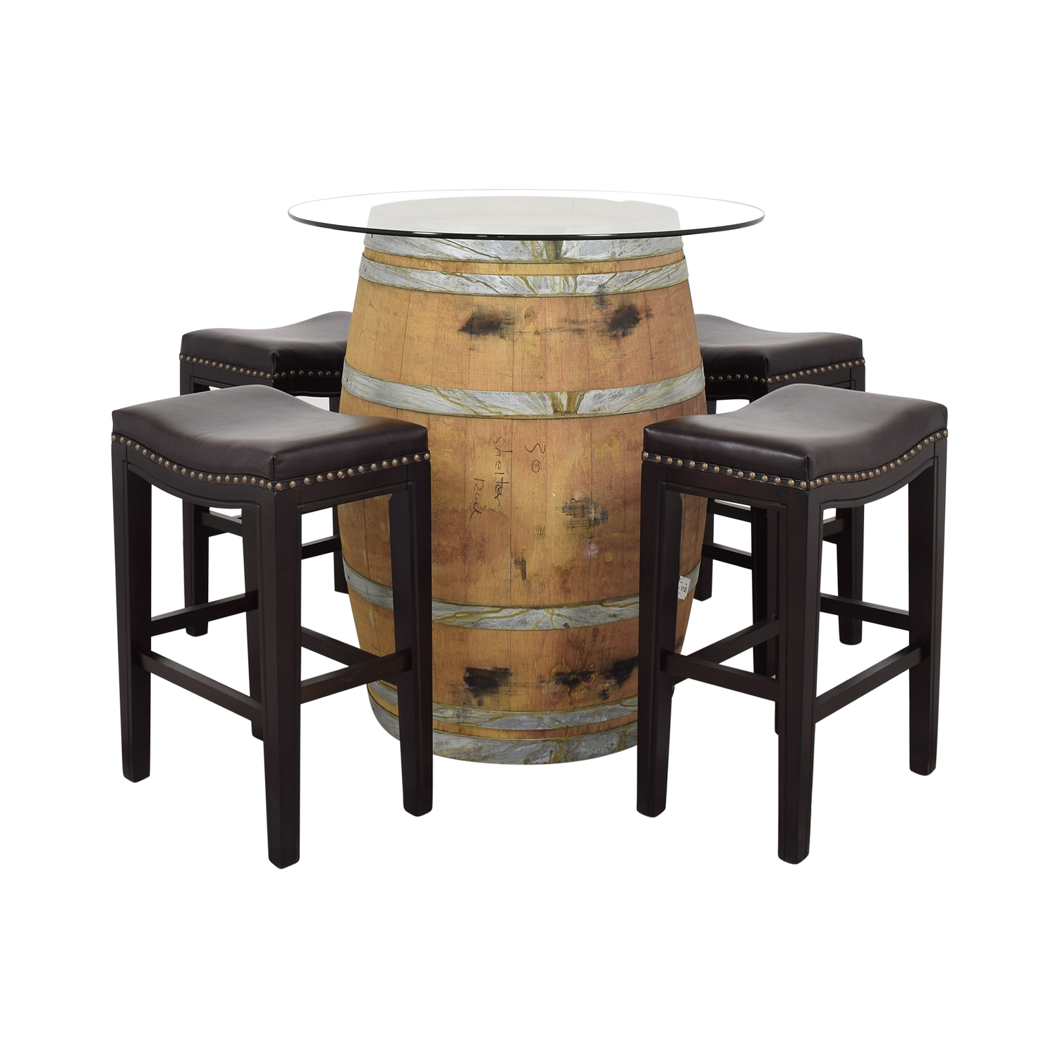 Glass Top Wine Barrel Entertainment Table with Stools Chairs