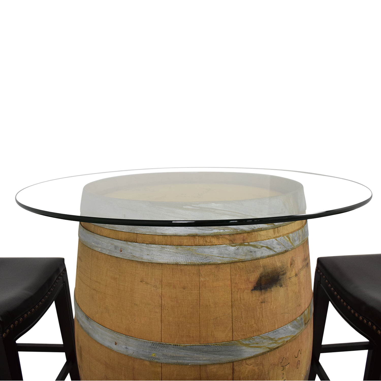 Glass Top Wine Barrel Entertainment Table with Stools used