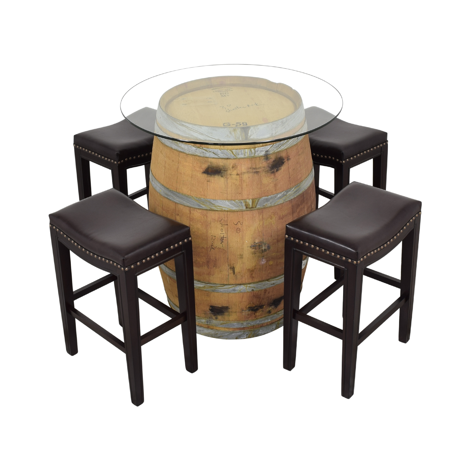 Glass Top Wine Barrel Entertainment Table with Stools / Stools