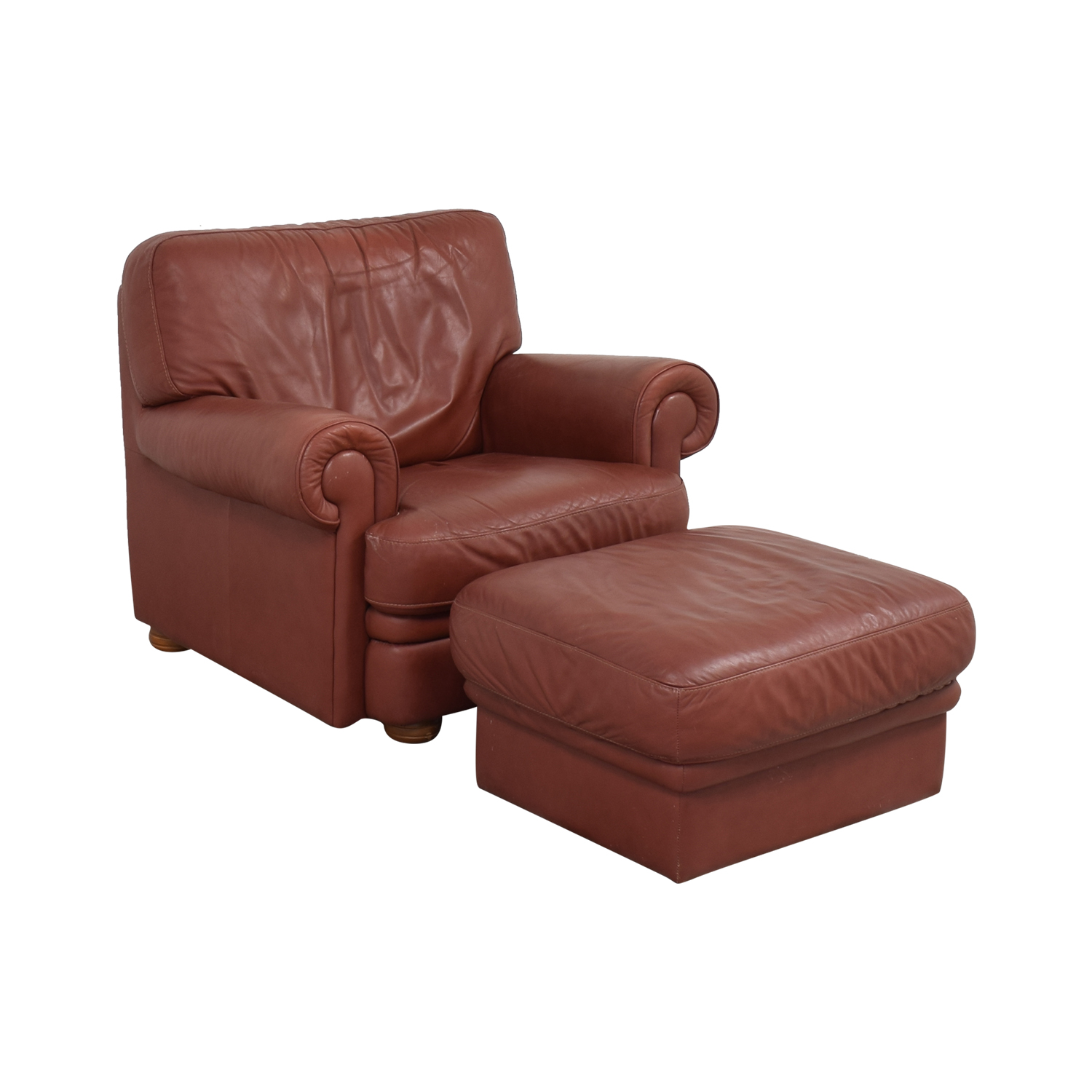 Italian Club Chair with Ottoman red