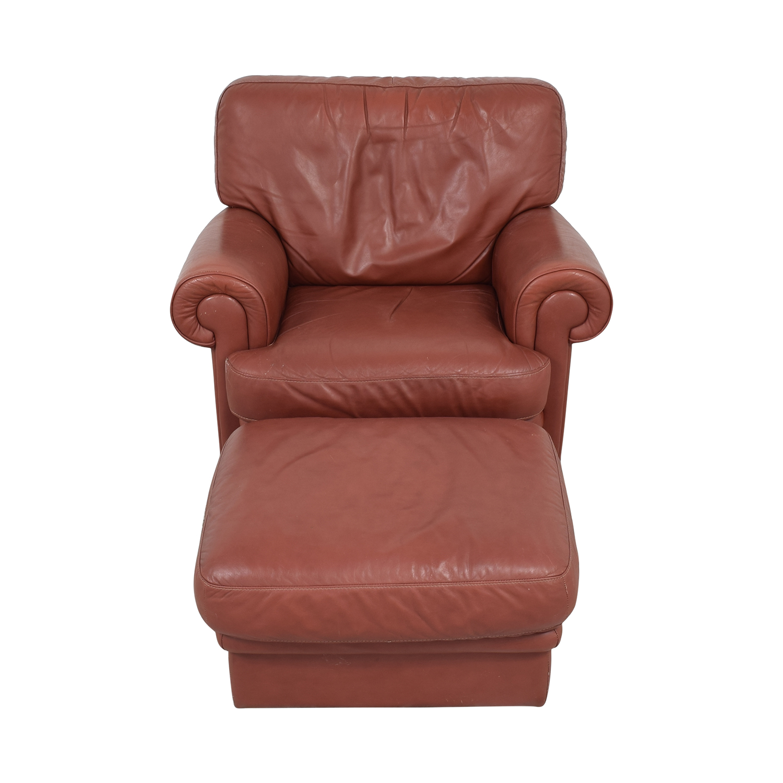 Italian Club Chair with Ottoman pa