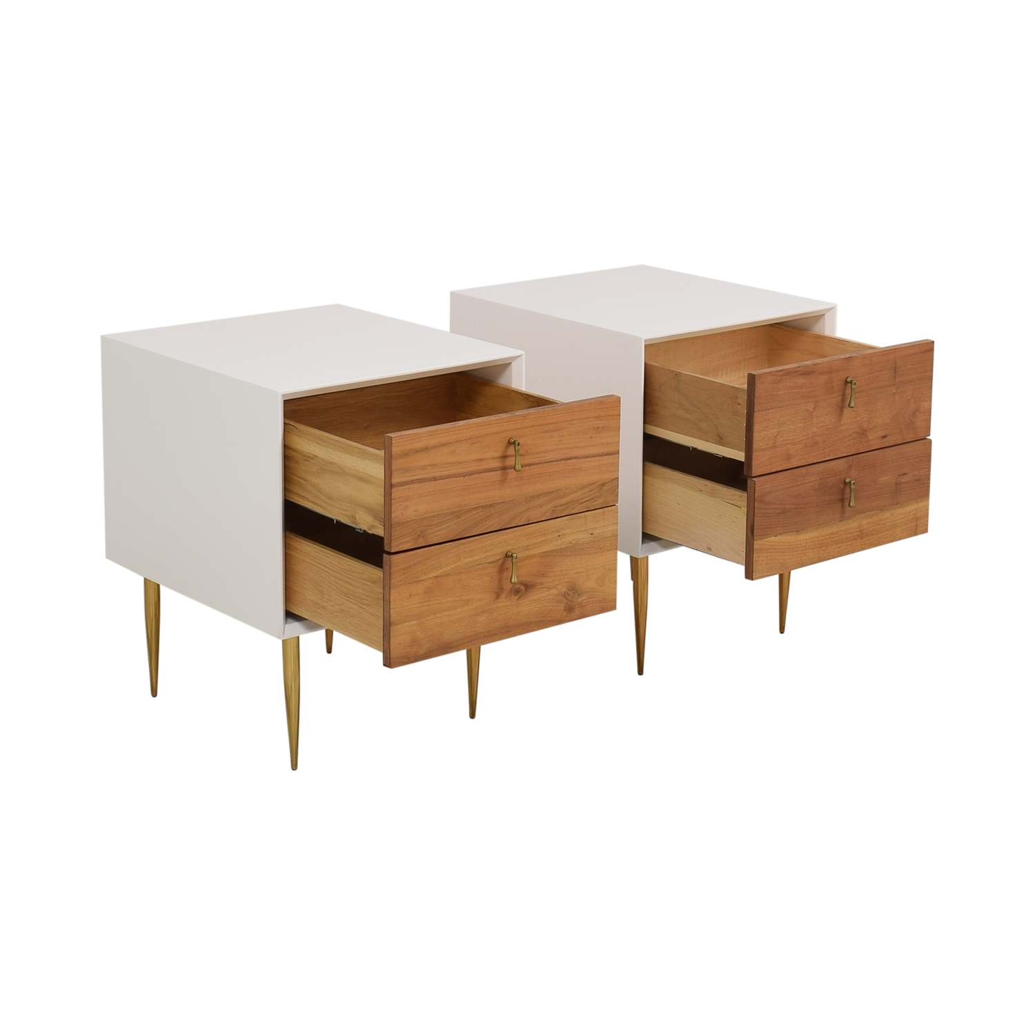 Organic Modernism Two Drawer Bedside Tables / Tables