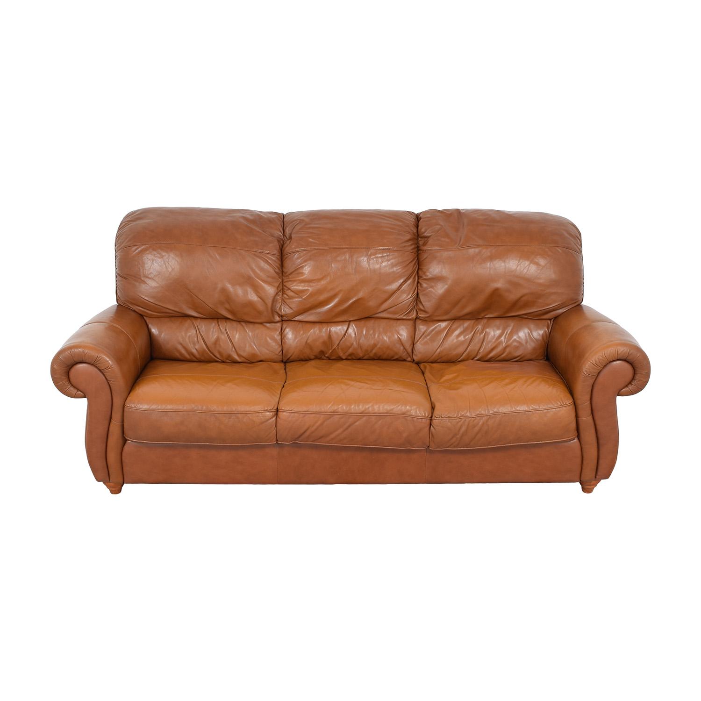 Jordan's Furniture Jordan's Furniture Roll Arm Leather Sofa for sale