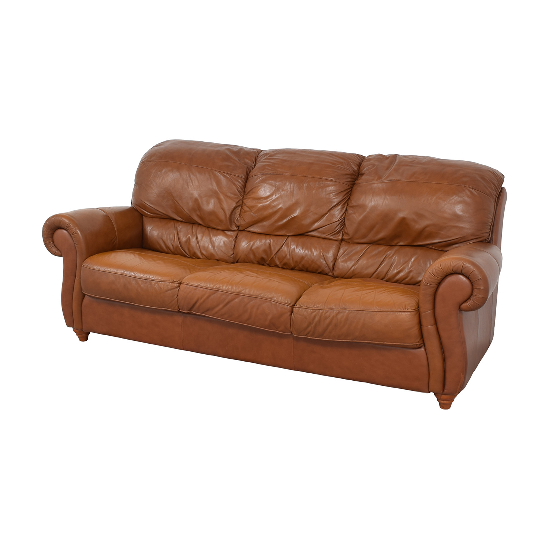 Jordan's Furniture Jordan's Furniture Roll Arm Leather Sofa ma