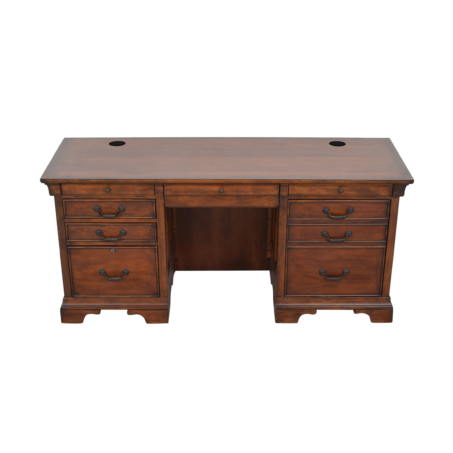 North Carolina Furniture Company Double Pedestal Locking Executive Desk Home Office Desks