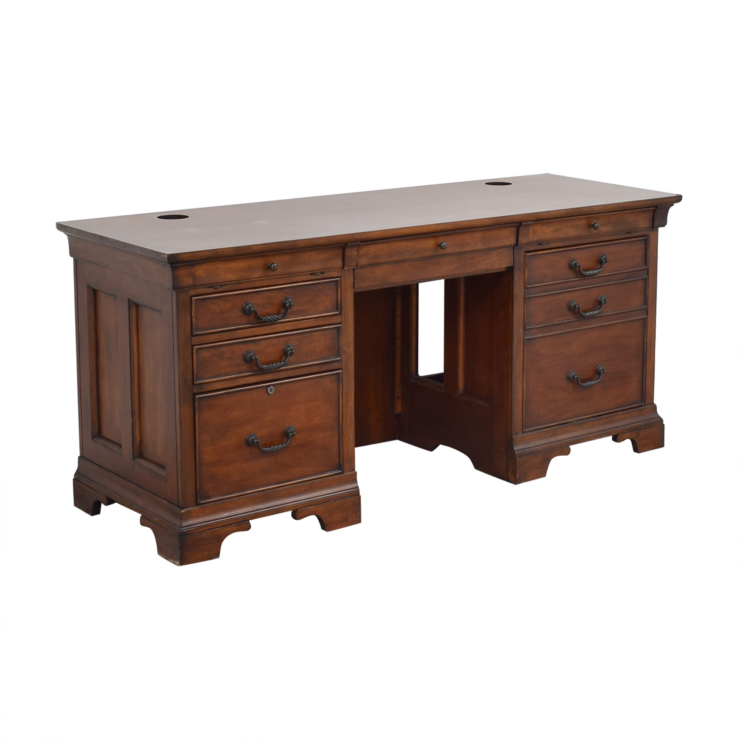 North Carolina Furniture Company Double Pedestal Locking Executive Desk nyc