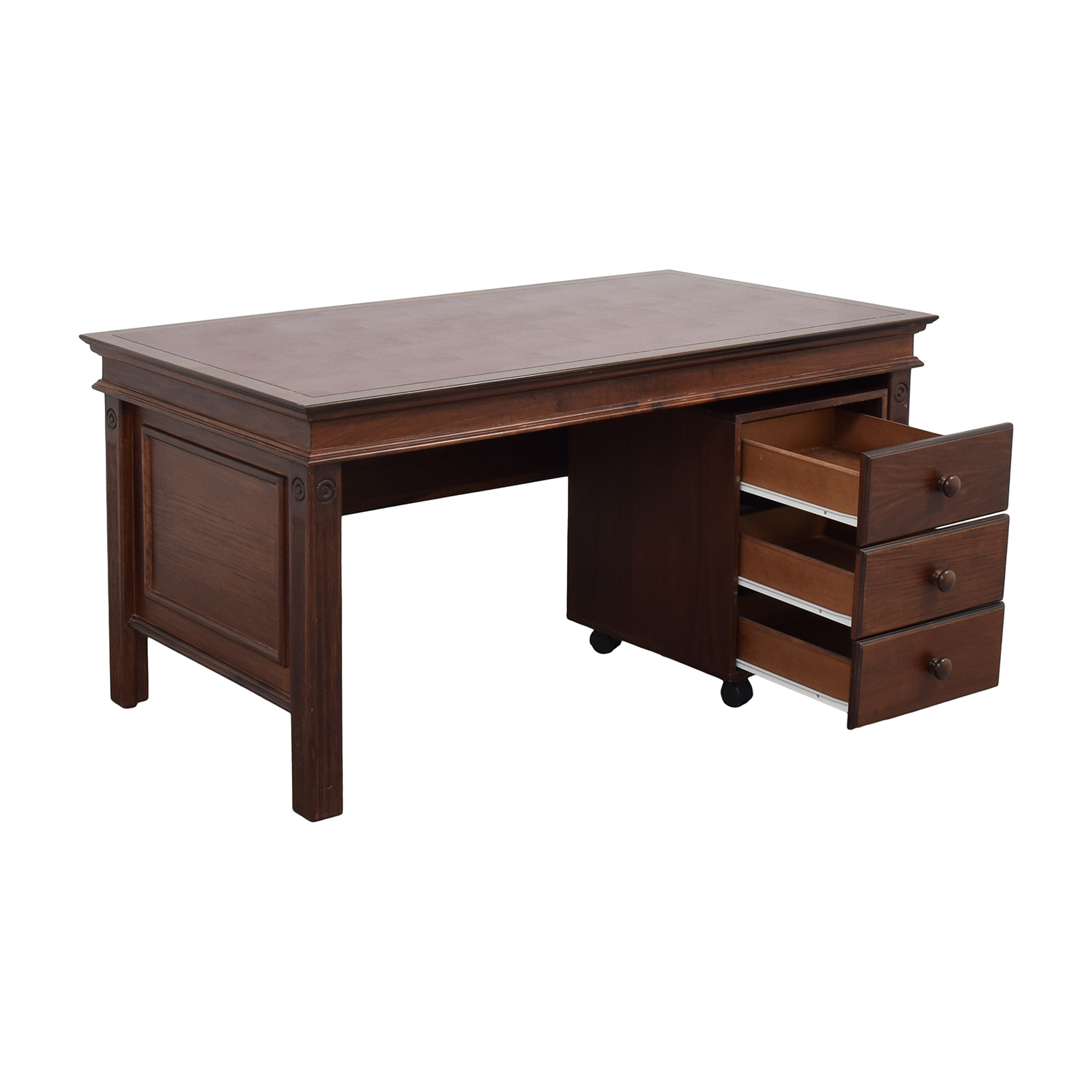 buy Inlay Desk with Rolling Cabinet