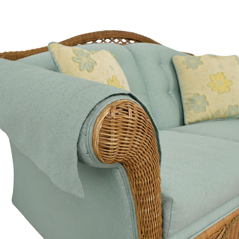 buy Henredon Furniture Wicker Upholstered Settee Loveseat online