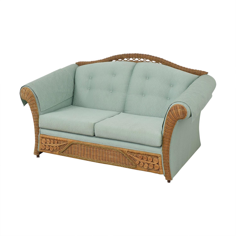 shop Wicker Upholstered Settee Loveseat Henredon Furniture