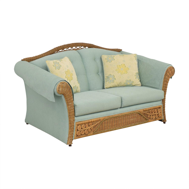 Henredon Furniture Wicker Upholstered Settee Loveseat for sale