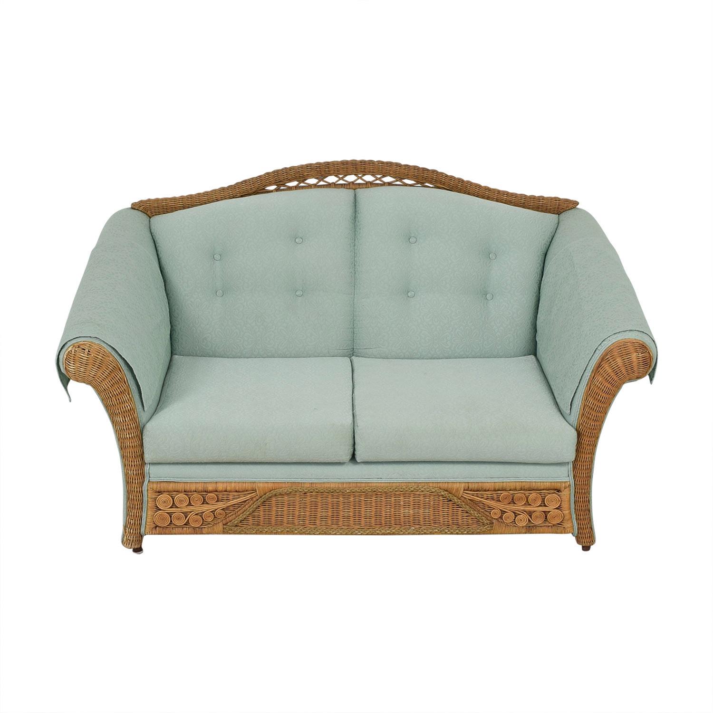 buy Wicker Upholstered Settee Loveseat Henredon Furniture Loveseats