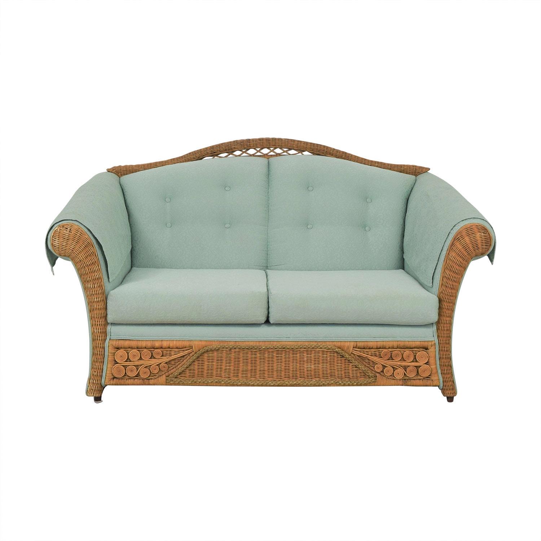 Henredon Furniture Wicker Upholstered Settee Loveseat pa