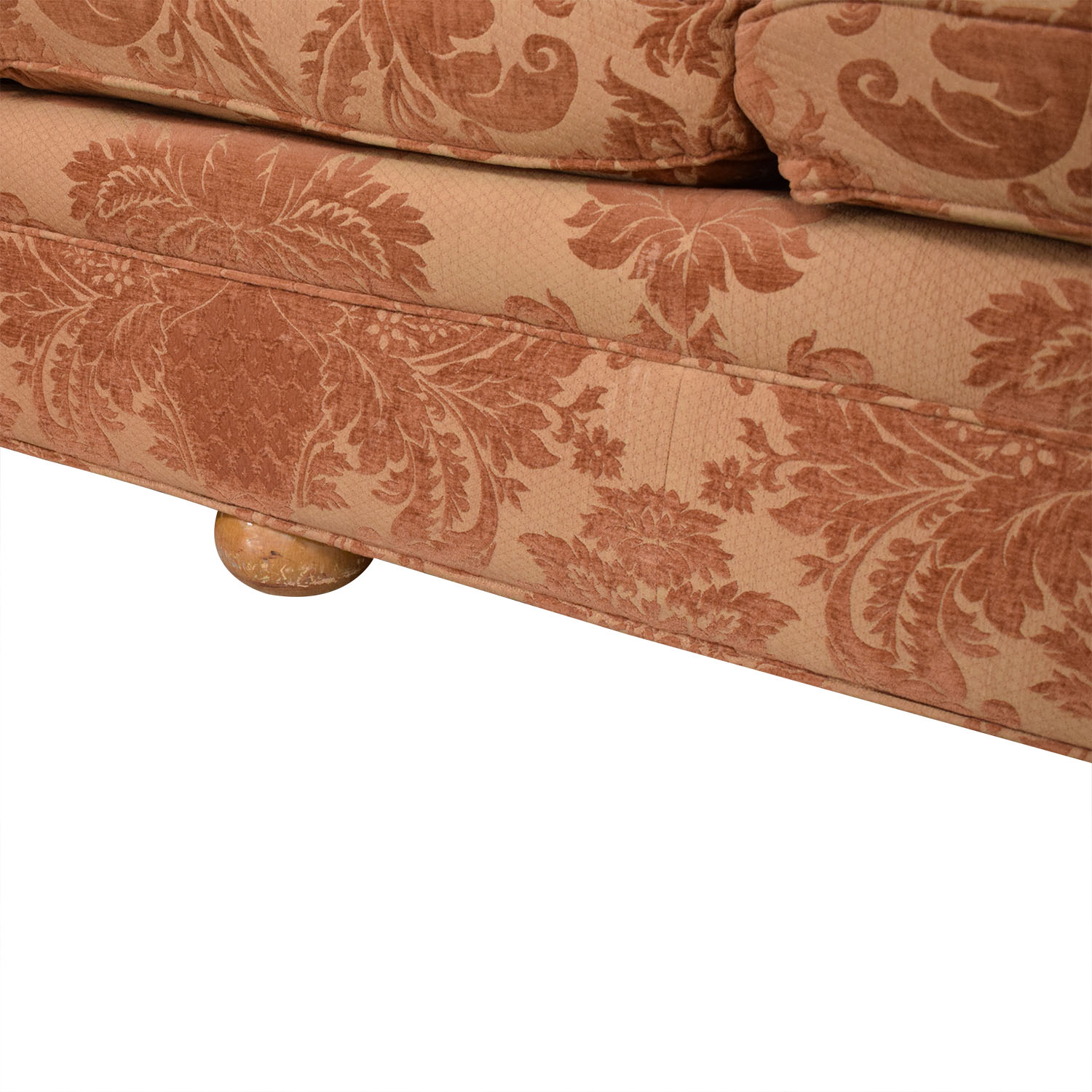 Custom Brocade Sectional Sofa red and brown