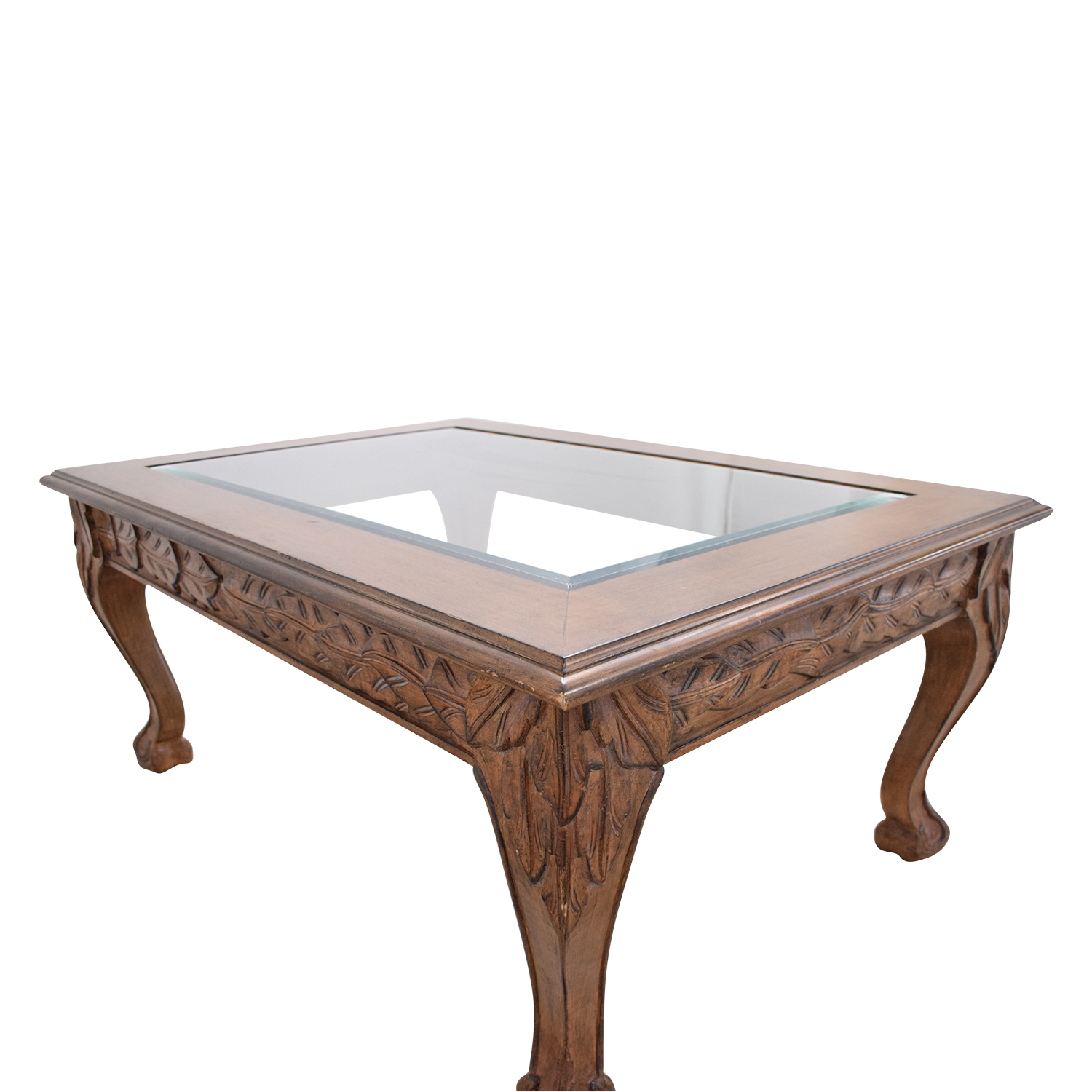- 89% OFF - Traditional Glass Top Coffee Table / Tables