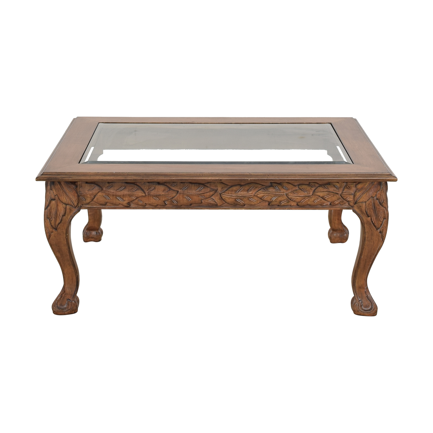 Traditional Glass Top Coffee Table Tables