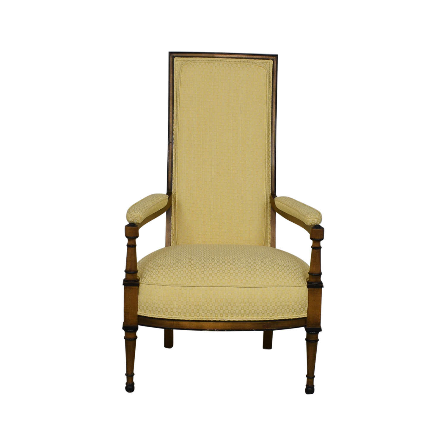 Upholstered High Back Chair yellow & brown