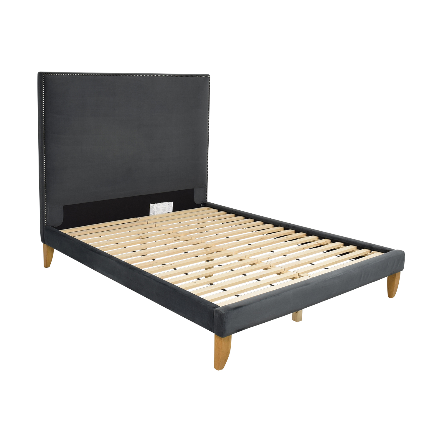 West Elm West Elm Upholstered Queen Platform  Bed dark blue