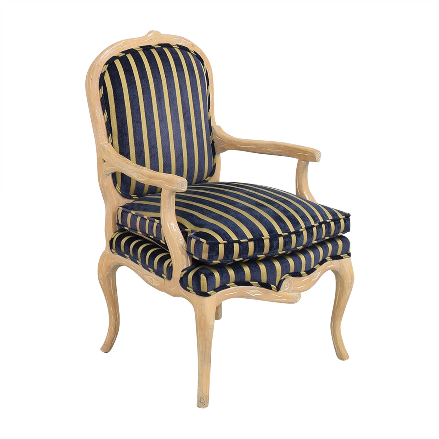 Stripe Upholstered Arm Chair