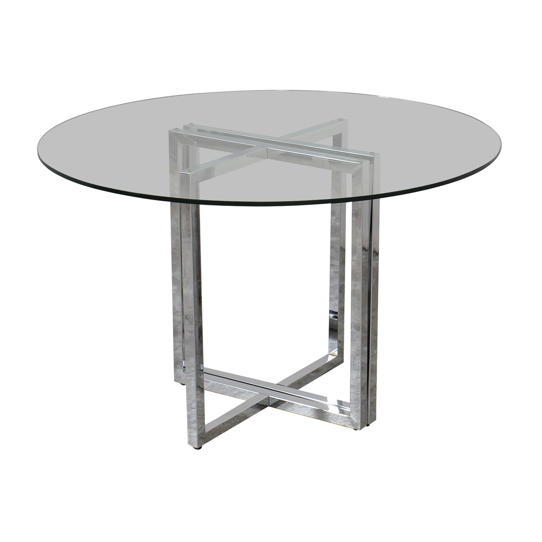 CB2 CB2 Silverado Chrome Glass Table Dinner Tables