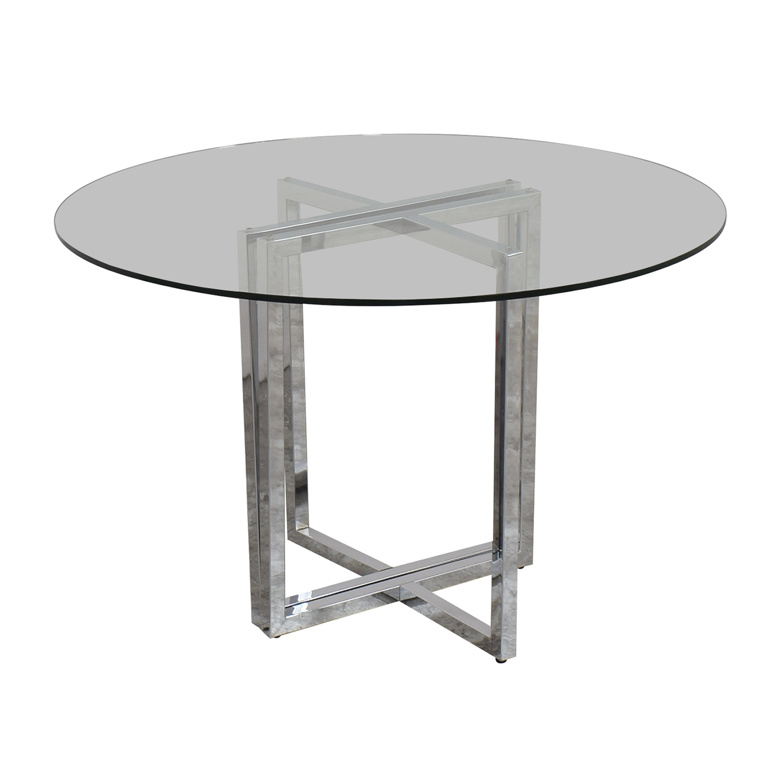 buy CB2 Silverado Chrome Glass Table CB2 Dinner Tables